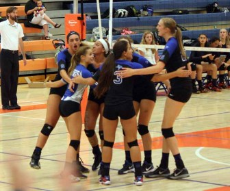 Pleasant Grove celebrates a point during its win over Timpview early in the 2015 season. (Photo by Kurt Johnson)
