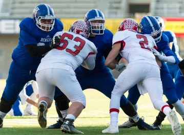 The offensive line is a staple of Bingham's success. (Photo by Dave Argyle, dbaphotography.com)