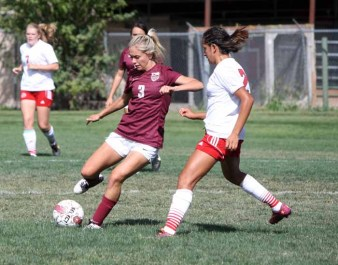 Senior midfielder Ally Vaught was strong all day, and assisted on the game-winner for Maple Mountain Thursday at Springville. (Photo by Kurt Johnson)