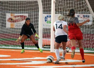 The play of goalkeeper Isabel Jones kept Alta in the game against Timpview. (Photo by Kurt Johnson)