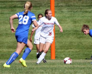Freshman Kaitlyn Conley scored two goals in Brighton's win over Bingham. (Photo by Kurt Johnson)