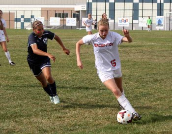 Talented Brighton freshman Kaitlyn Conley scored two goals against Copper Hills. (Photo by Kurt Johnson)