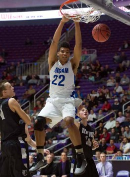 Bingham big man Yoeli Childs dominates in the paint. (Photo by Dave Argyle, dbaphotography.com)