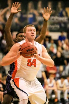 AJ Bollinger is a post-up option for Timpview. (Photo by Kevin McInnis)