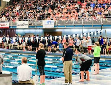 The 2016 Class 5A state swimming championships at BYU. (Photo by Kevin McInnis)