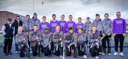 Coach Alan Wofford (far left) and the 2016 Lehi High boys tennis team.