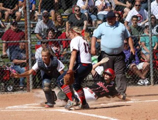 Mallory Barber slides into home plate with a Spanish Fork run. (Photo by Kurt Johnson)