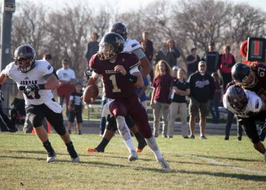 Quarterback Dakota Hansen had a big game for Lone Peak as the Knights reached the state semifinals (Photo by Kurt Johnson)