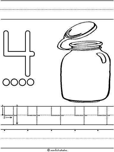 Number 4( four ) tracing and coloring worksheets