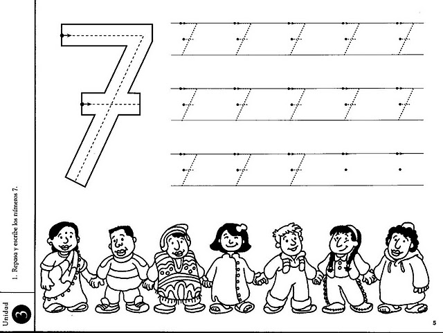Number 7 ( seven ) tracing and coloring worksheets