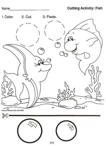 Preschool Worksheets Cut Paste Fish. Preschool. Best Free