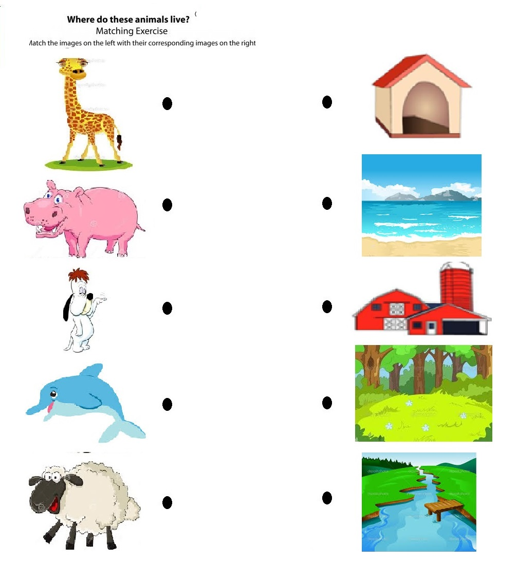 hight resolution of free printable matching animals to their home worksheet (2)   Crafts and  Worksheets for Preschool