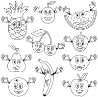 Cartoon fruits coloring pages   Crafts and Worksheets for ...