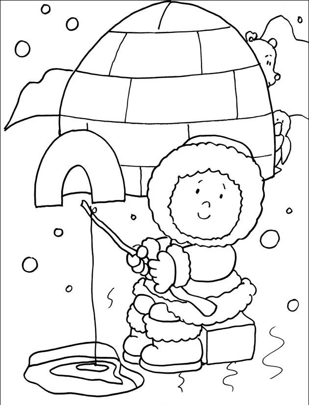 Eskimo Face Page Preschool Coloring Pages