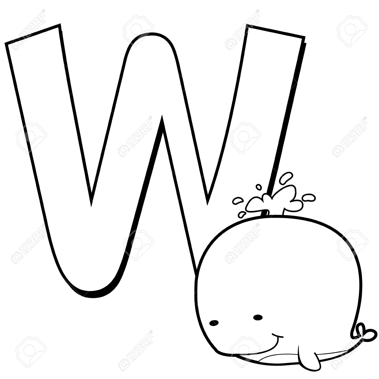 Coloring Alphabet For Kids W With Whale Stock Vector Whale