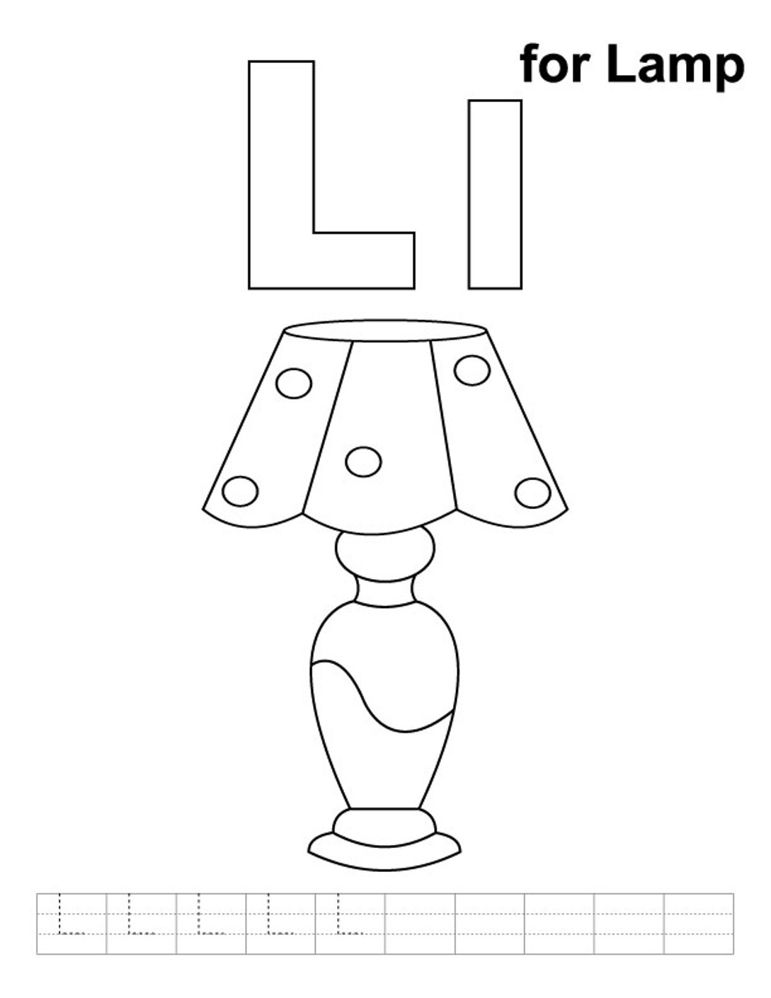Alphabet Coloring Pages Free Lamp For Preschool