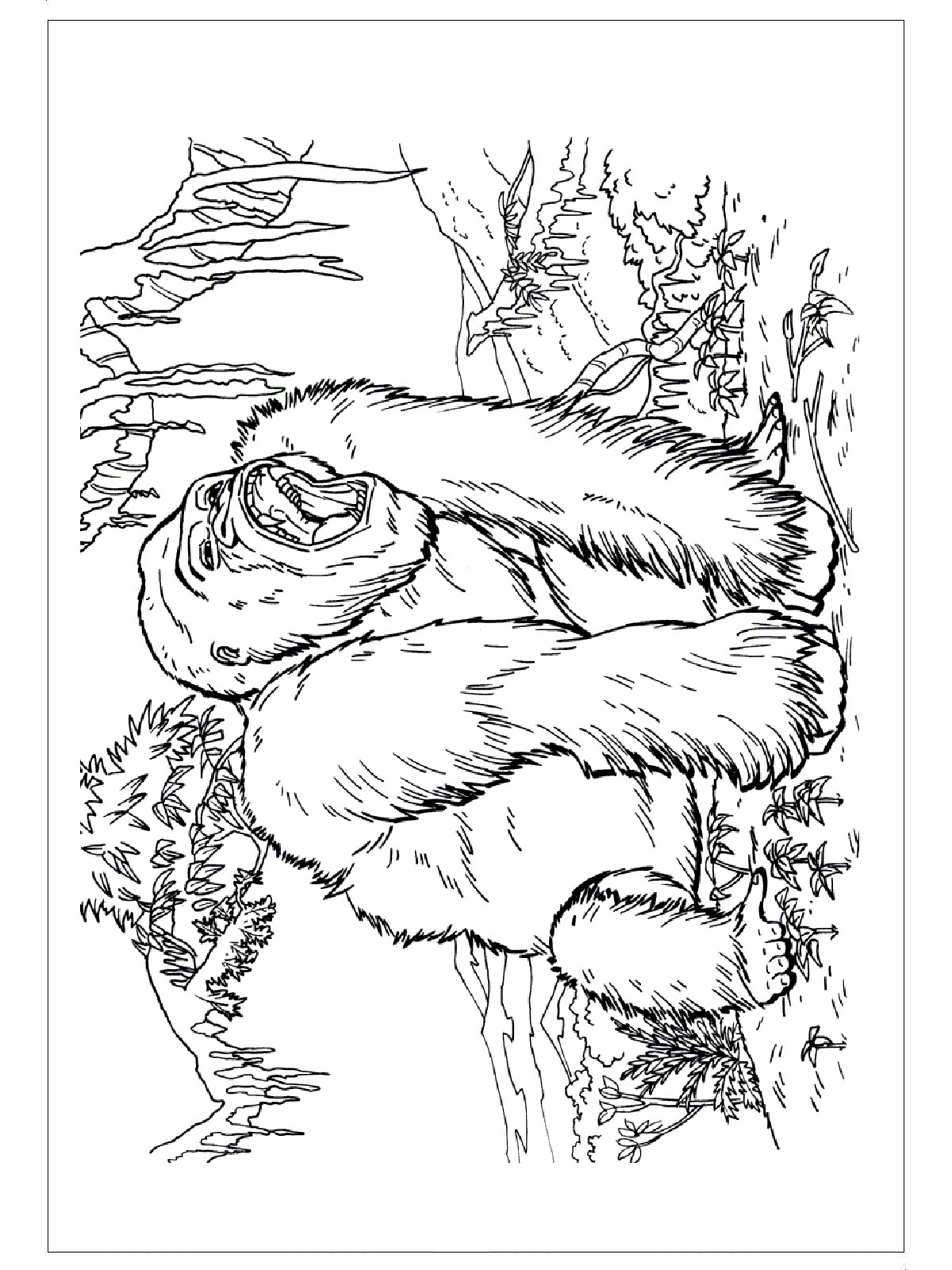 Animals Gorilla Printable Colouring Pages For Preschool