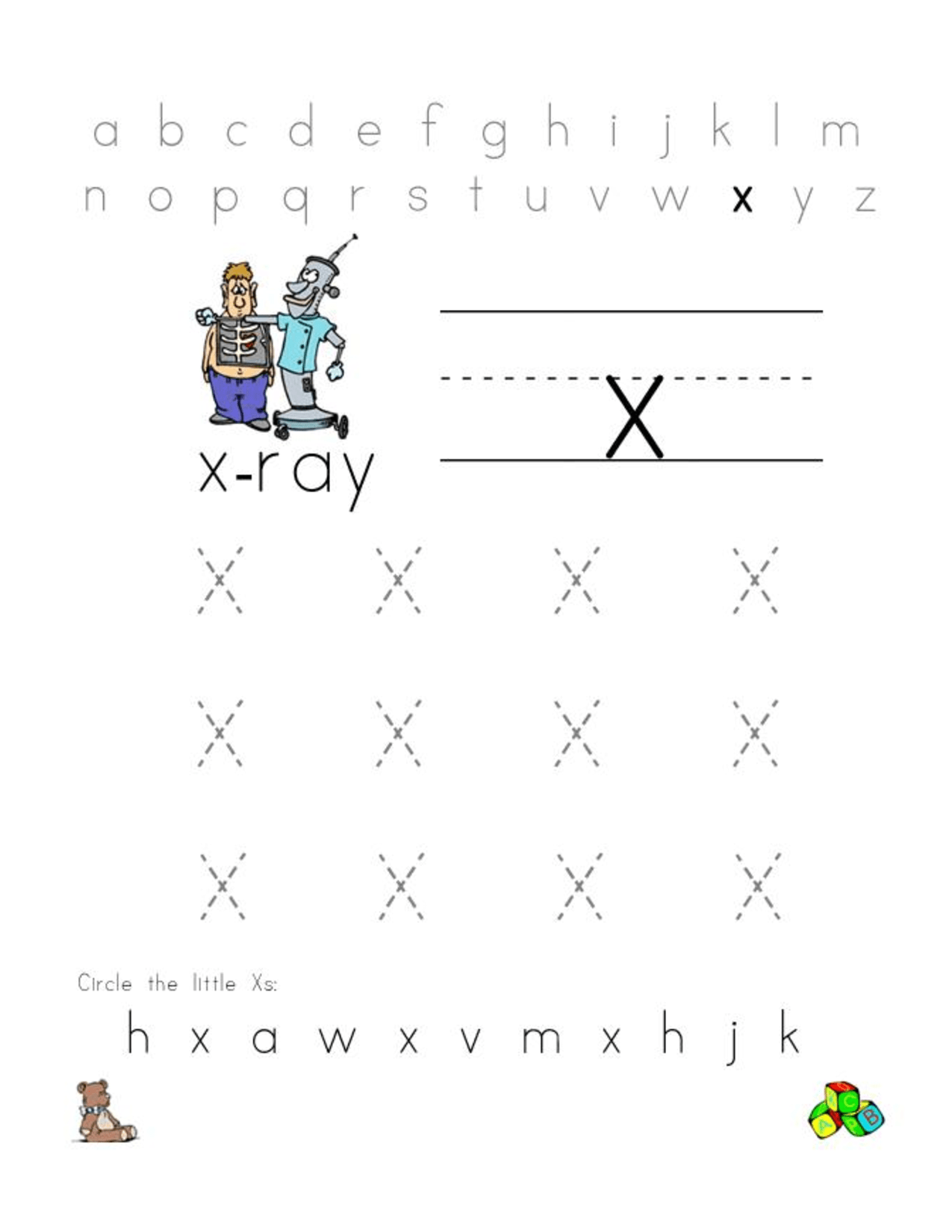 Free Letter X Worksheets For Preschool