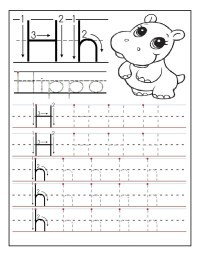 Printable letter H tracing worksheets for preschoolers ...