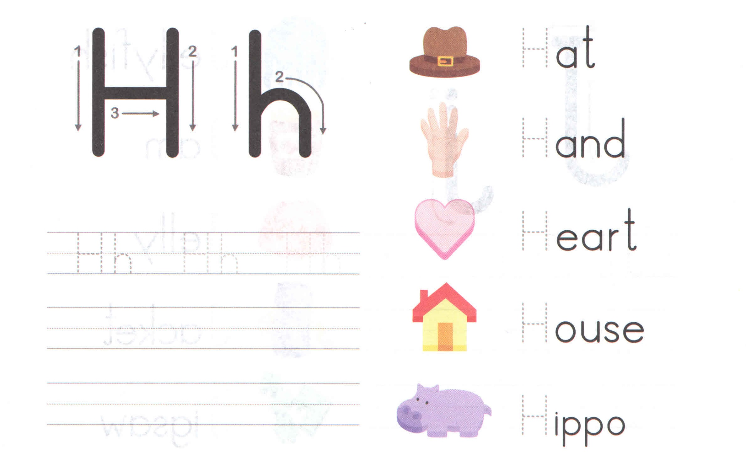 Alphabet Capital And Small Letter H H Worksheet For Kids