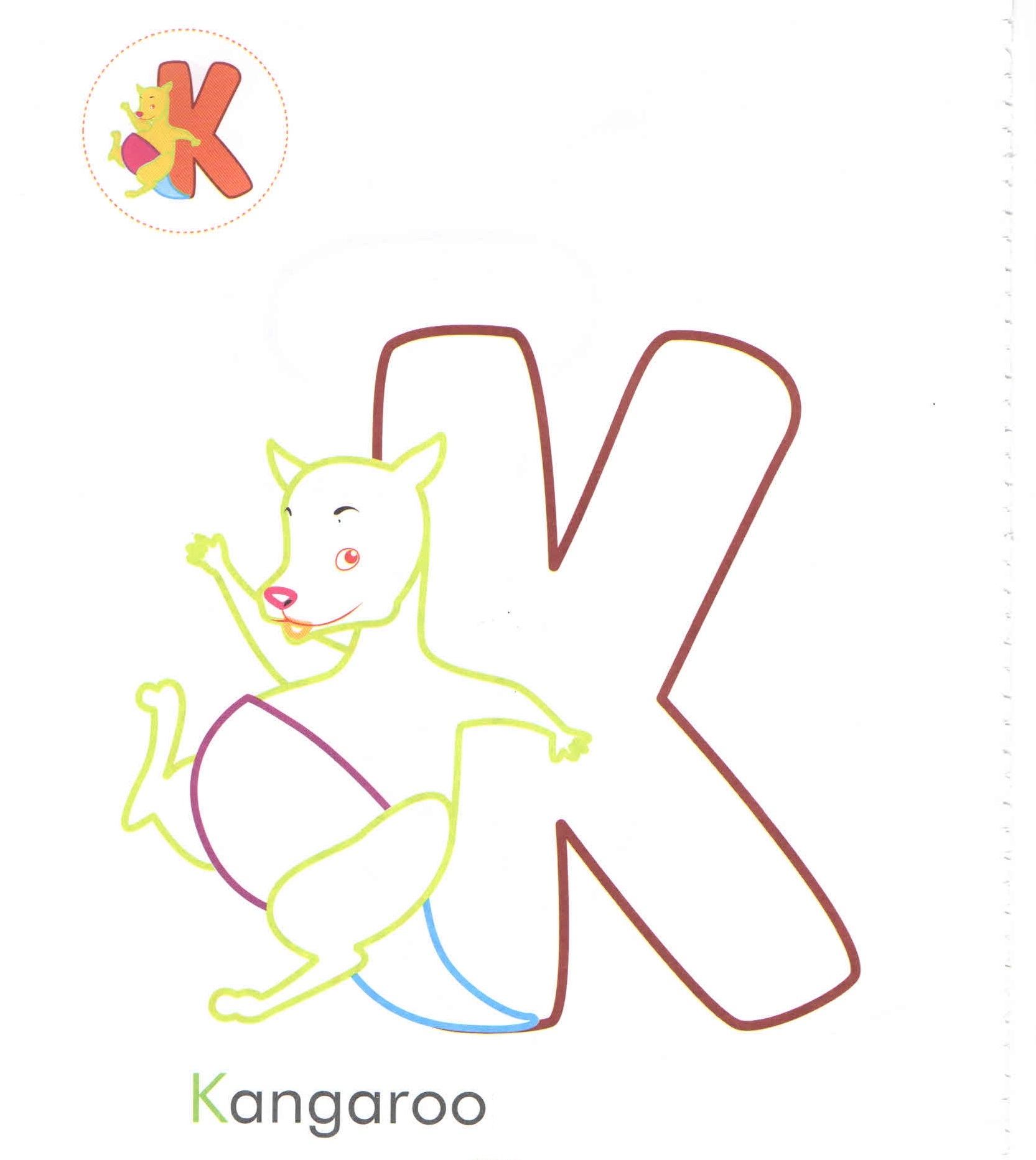Alphabet Letter K Kangaroo Coloring Page For Preschool