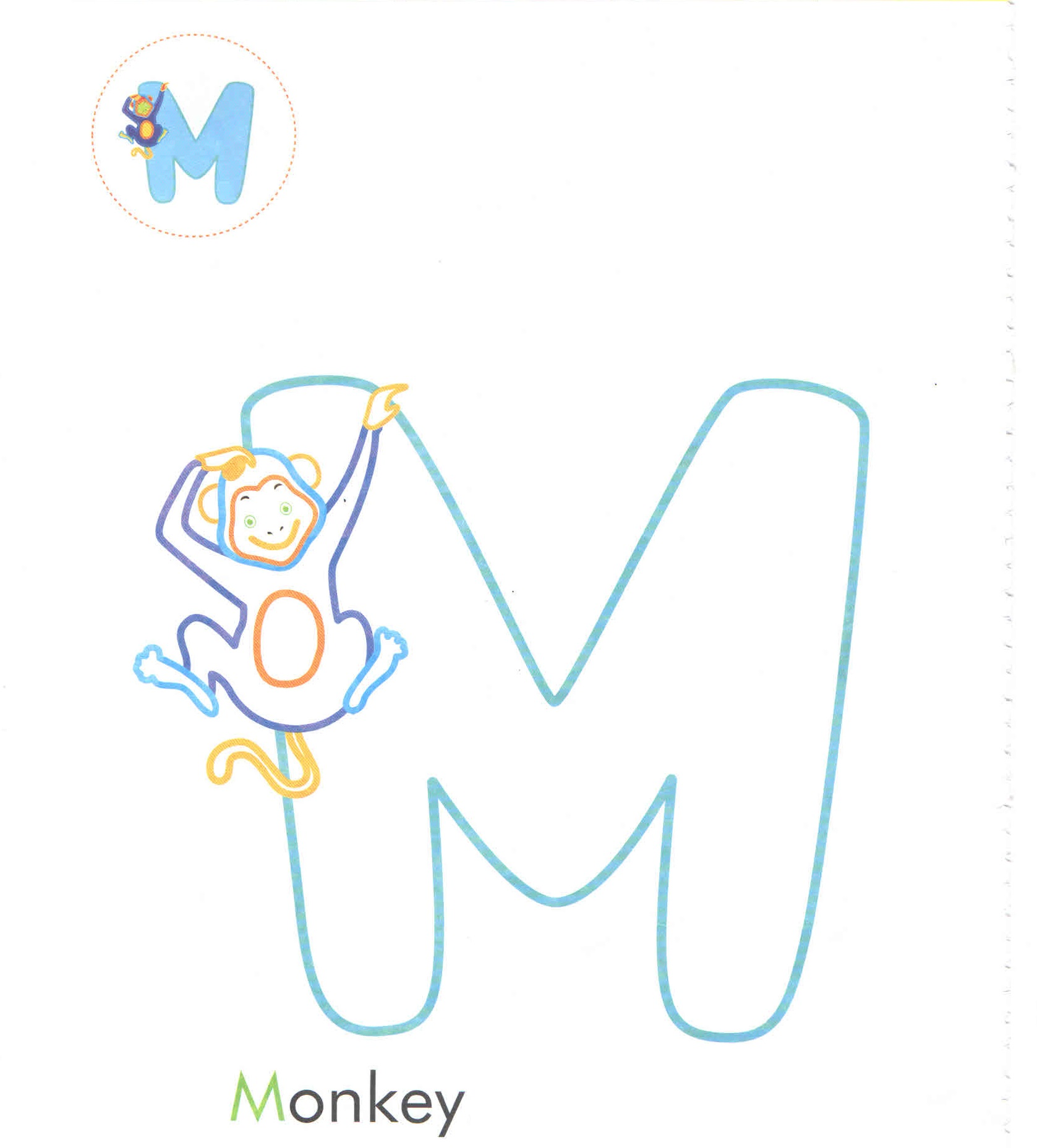 Alphabet Letter M Monkey Coloring Page For Preschool