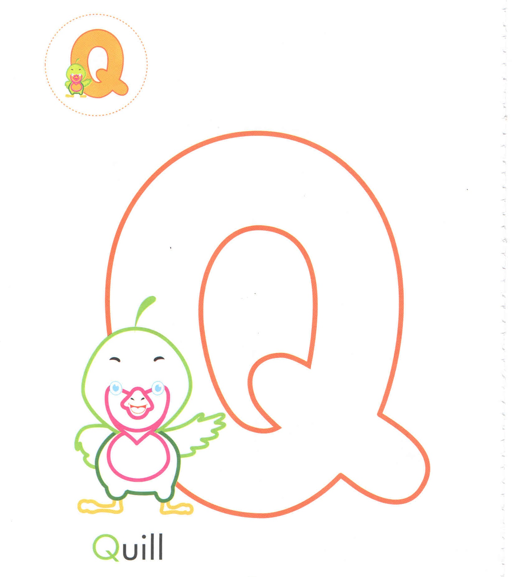 Alphabet Letter Q Q Quill Coloring Page For Preschool