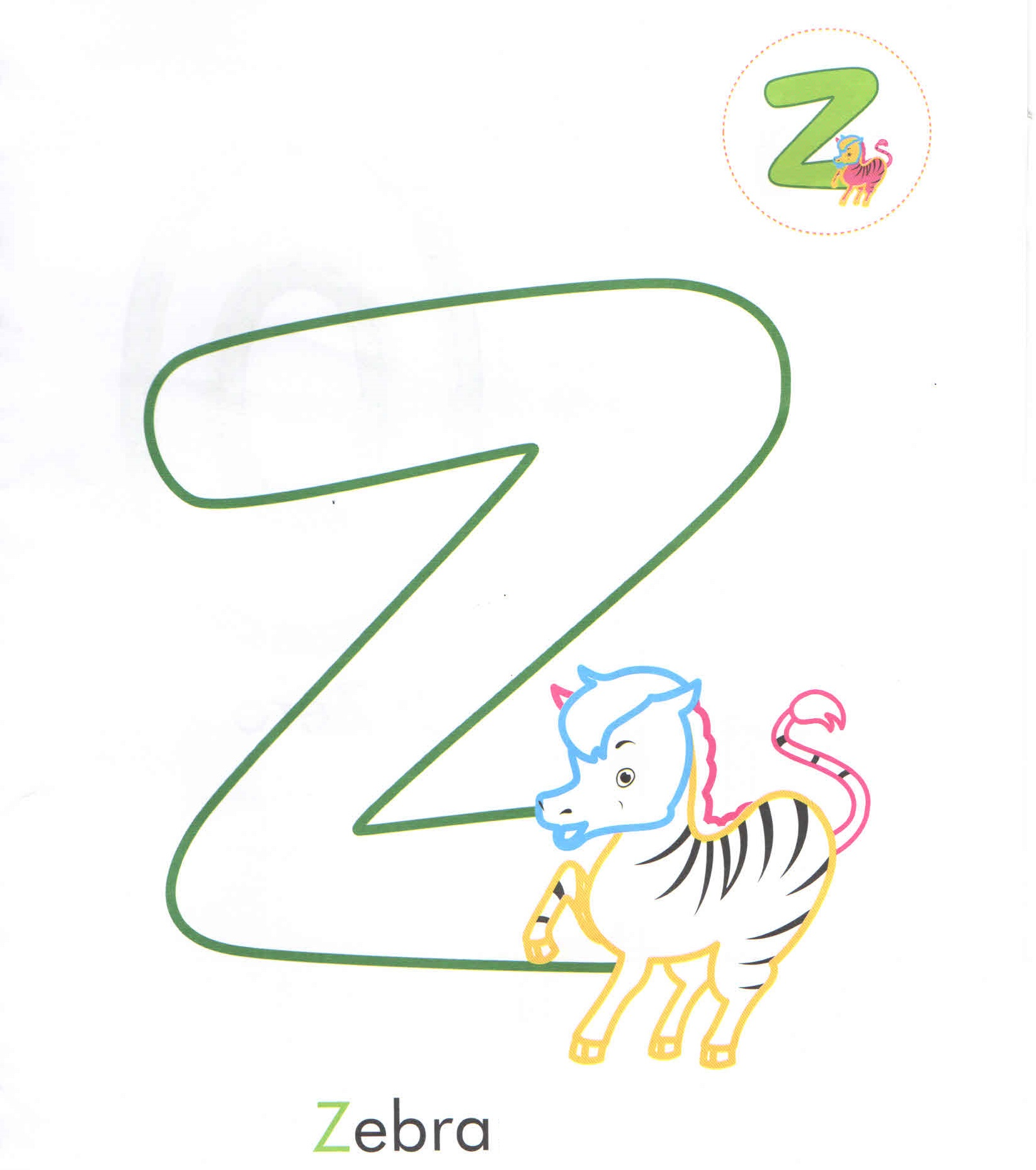 Alphabet Letter Z Zebra Coloring Page For Preschool