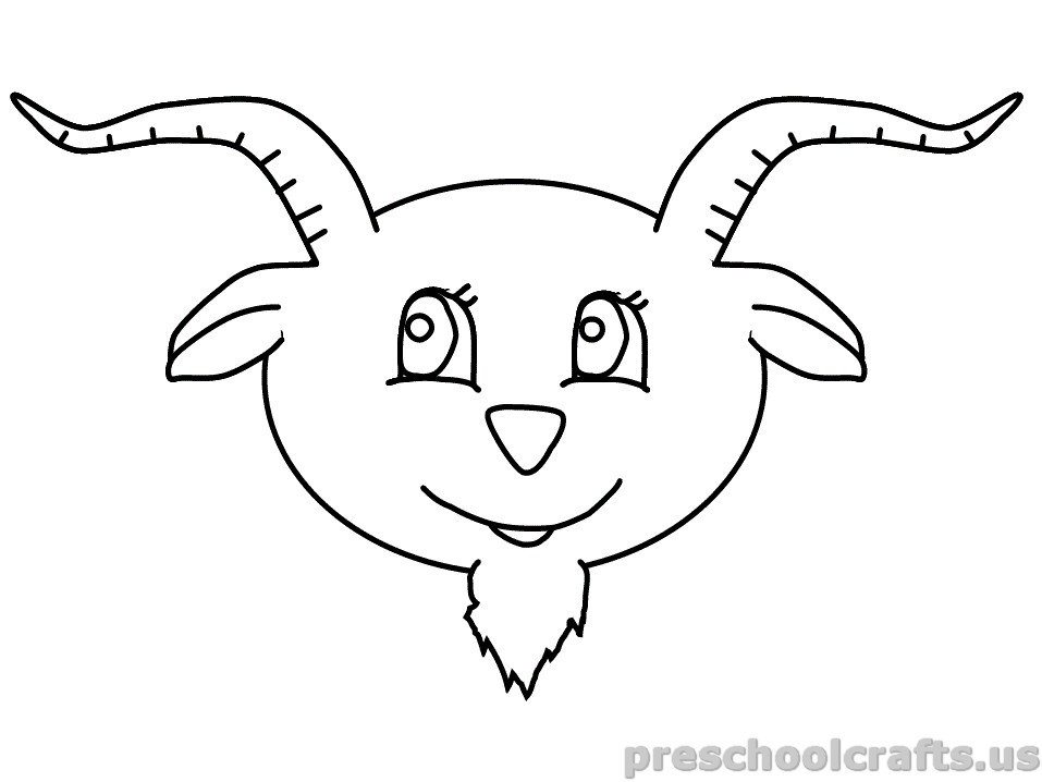 free printable Goat Coloring Pages for kindergarten