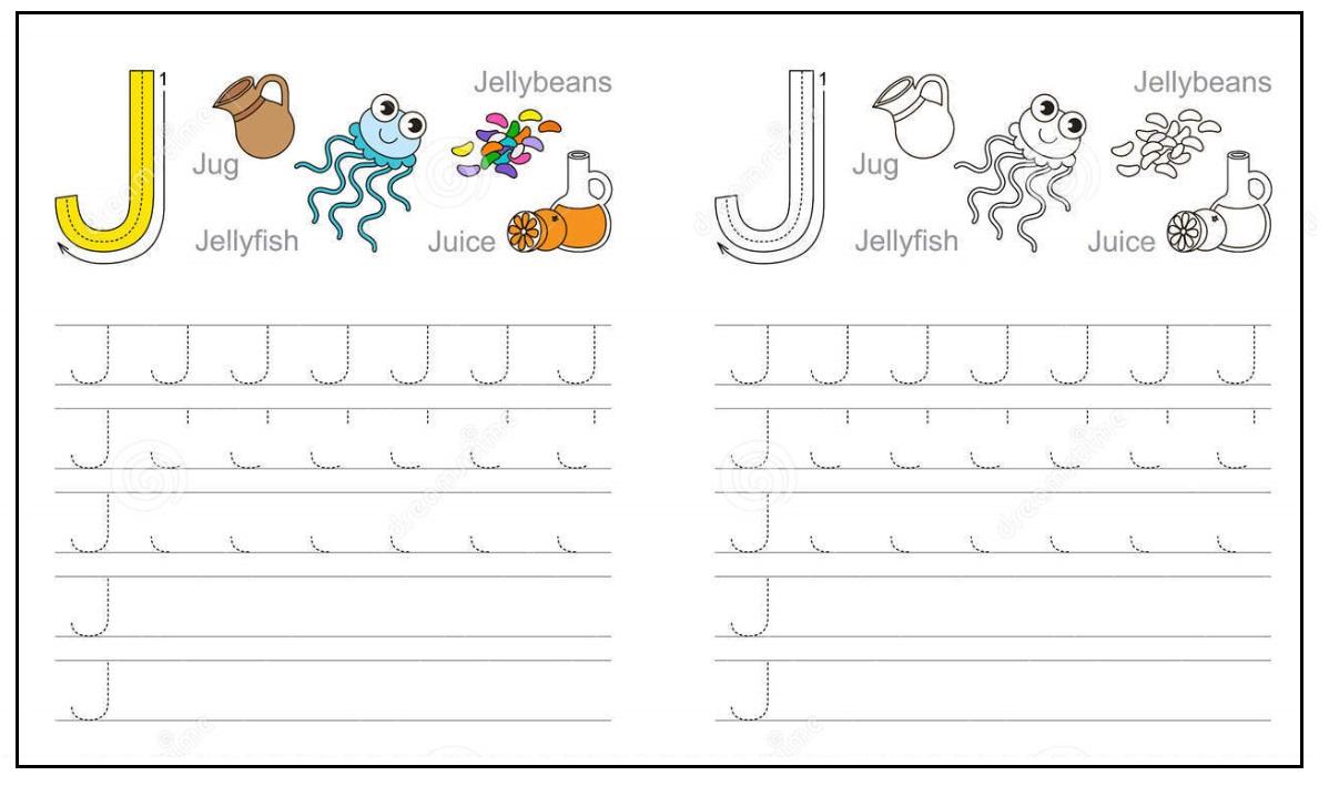 Letter J W Ksheet K Derg Rten Preschool Nd 1