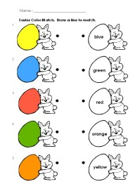 Happy Easter Colored Match Worksheet for Preschool ...