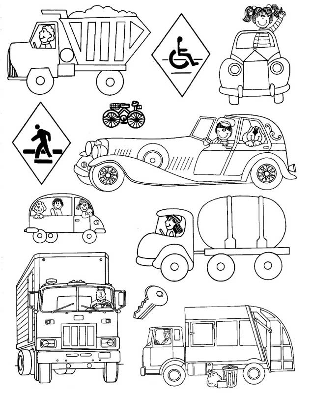 Land Transportation Coloring Pages for Kids - Preschool ... | transportation coloring pages for preschool