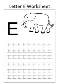letter e worksheet for preschool elephant - Preschool Crafts