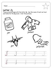 letter j trace line worksheet for preschool - Preschool Crafts