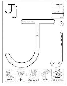 Letter J Worksheet for Kindergarten Preschool and 1'st
