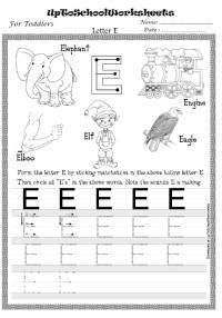 up to school worksheet letter e - Preschool Crafts