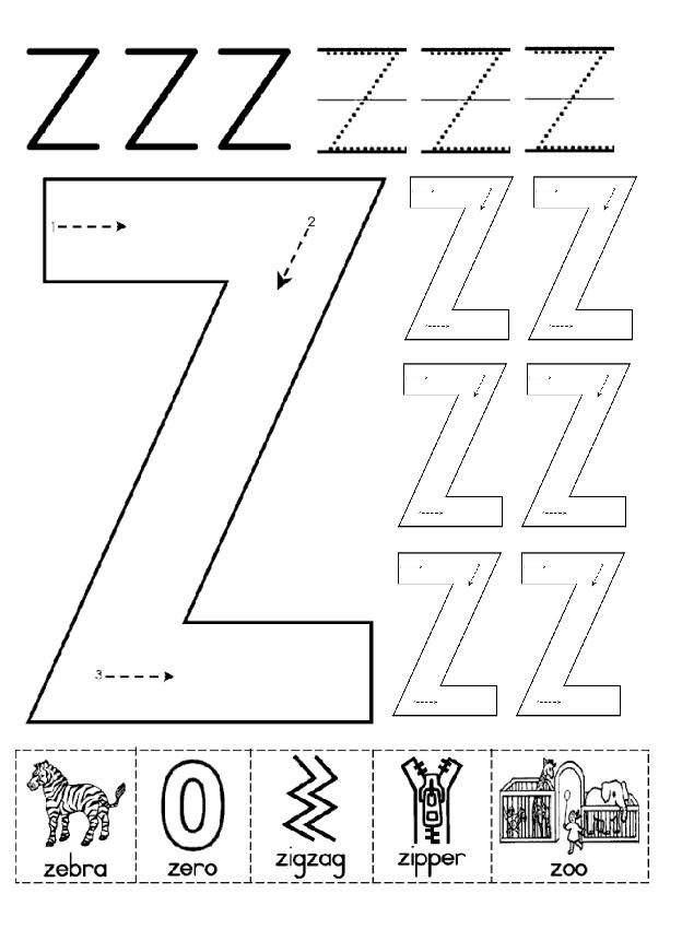 Uppercase Letter Z Worksheet for Kindergartners