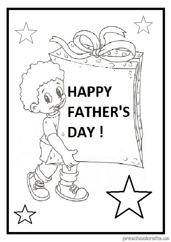 Father's Day Coloring Page for Pre school and Kindergarten