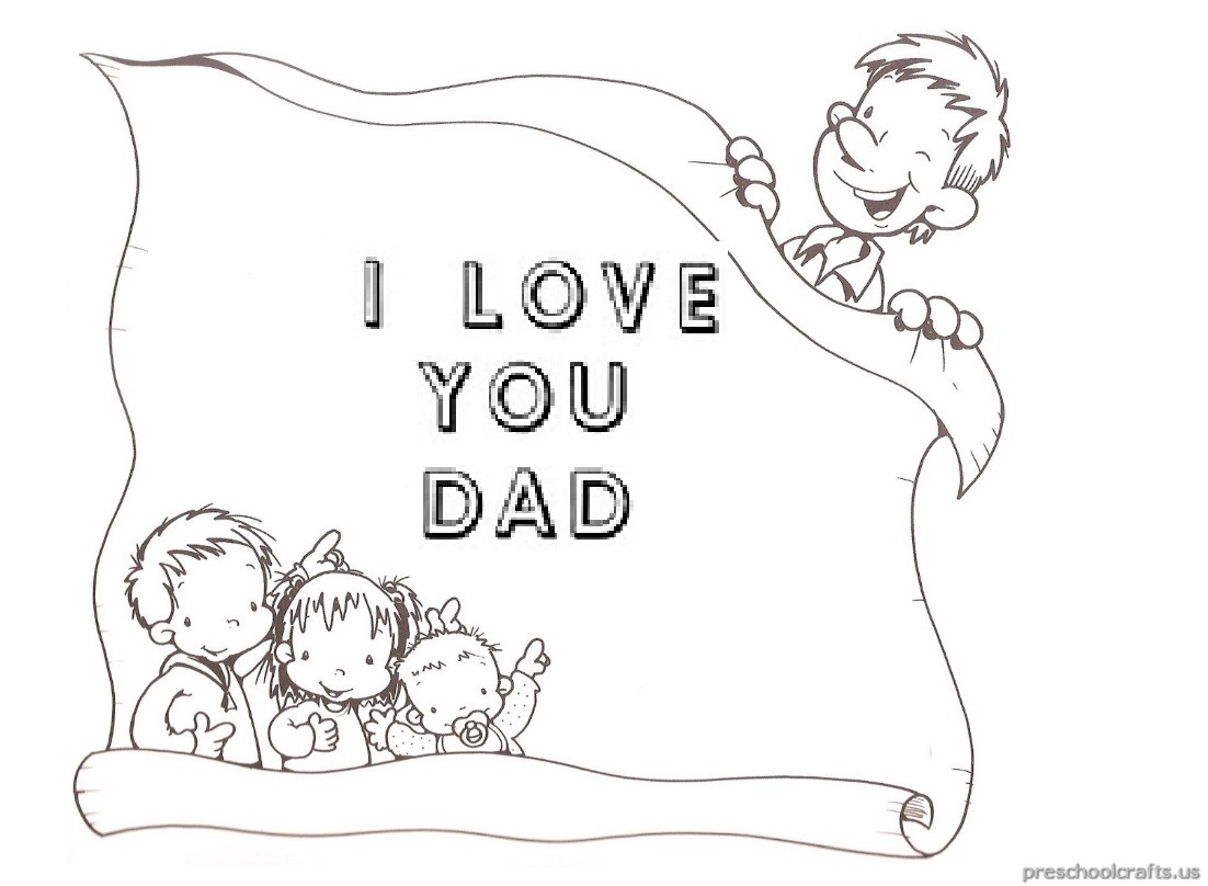 I Love You Dad Coloring Pages For Pre School And