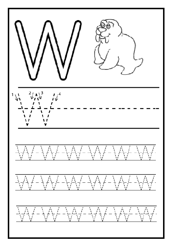 Writing Practice Big Letter W