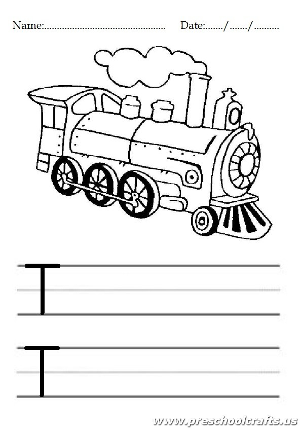 Uppercase Letter T Worksheets / Free Printable - Preschool ... | coloring sheets for kindergarten