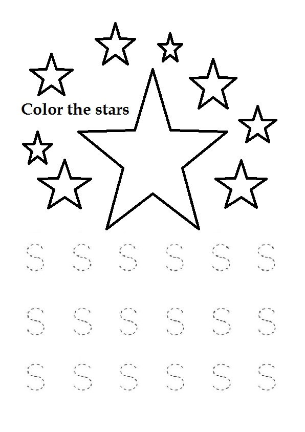 Trace the Uppercase letter s worksheet for kindergarten