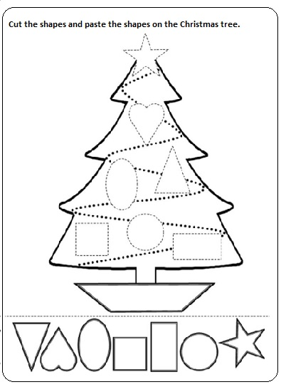 cut paste christmas worksheet printable for preschool