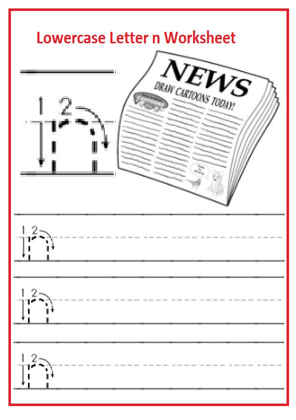 Lowercase Letter N Worksheets Free Printable Preschool