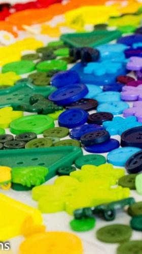 Rainbow Button Collage Canvas Art