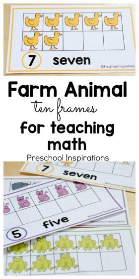 Farm Animal Ten Frame Math Cards