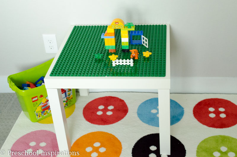 Make a quick and easy Duplo table for Lego lovers and toddlers.