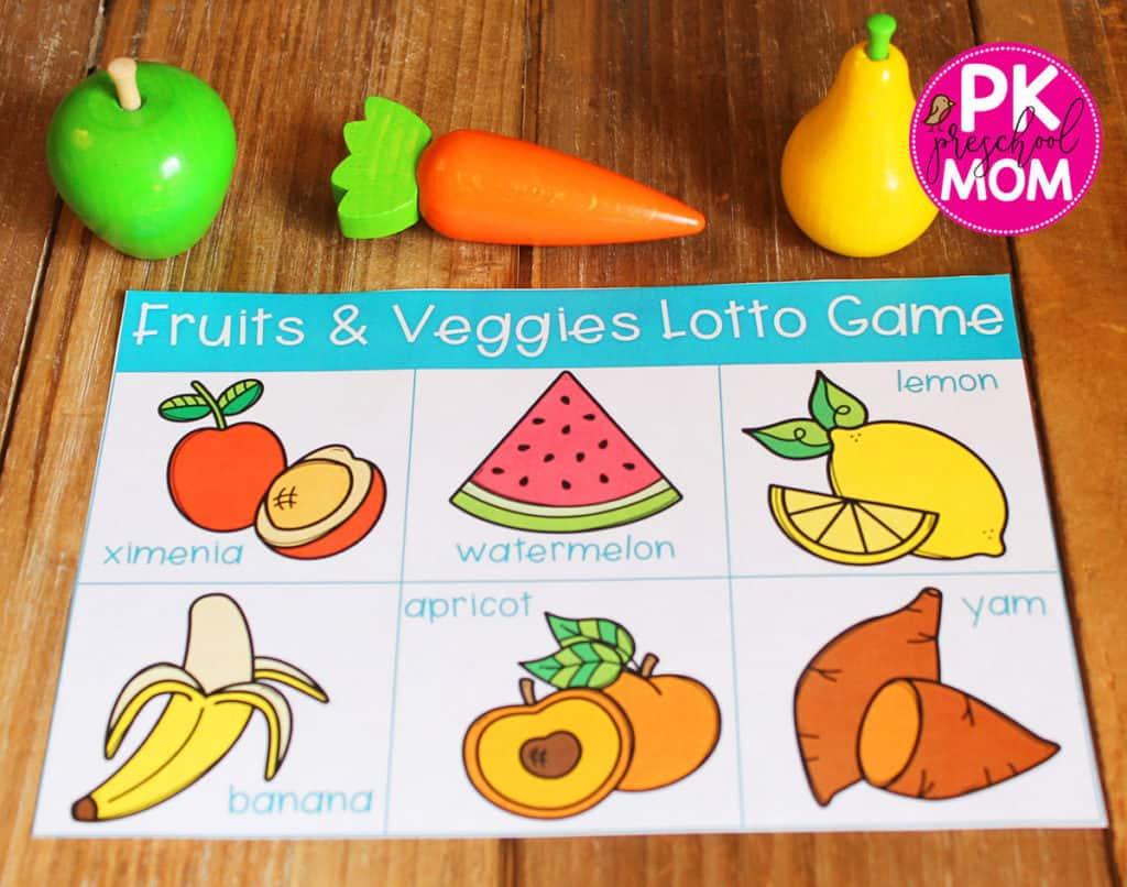 Preschool Fruits And Vegetables Worksheet For Kindergarten