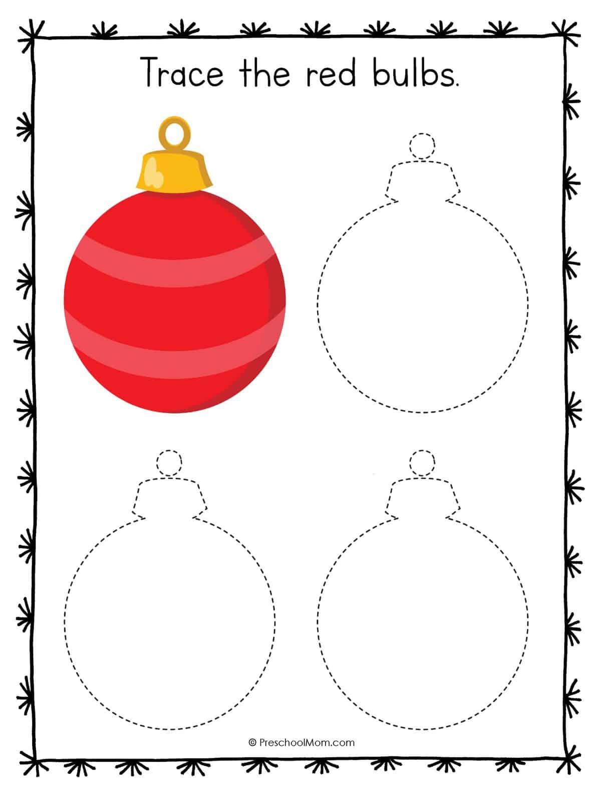 Christmas Symbols Tracing Worksheets