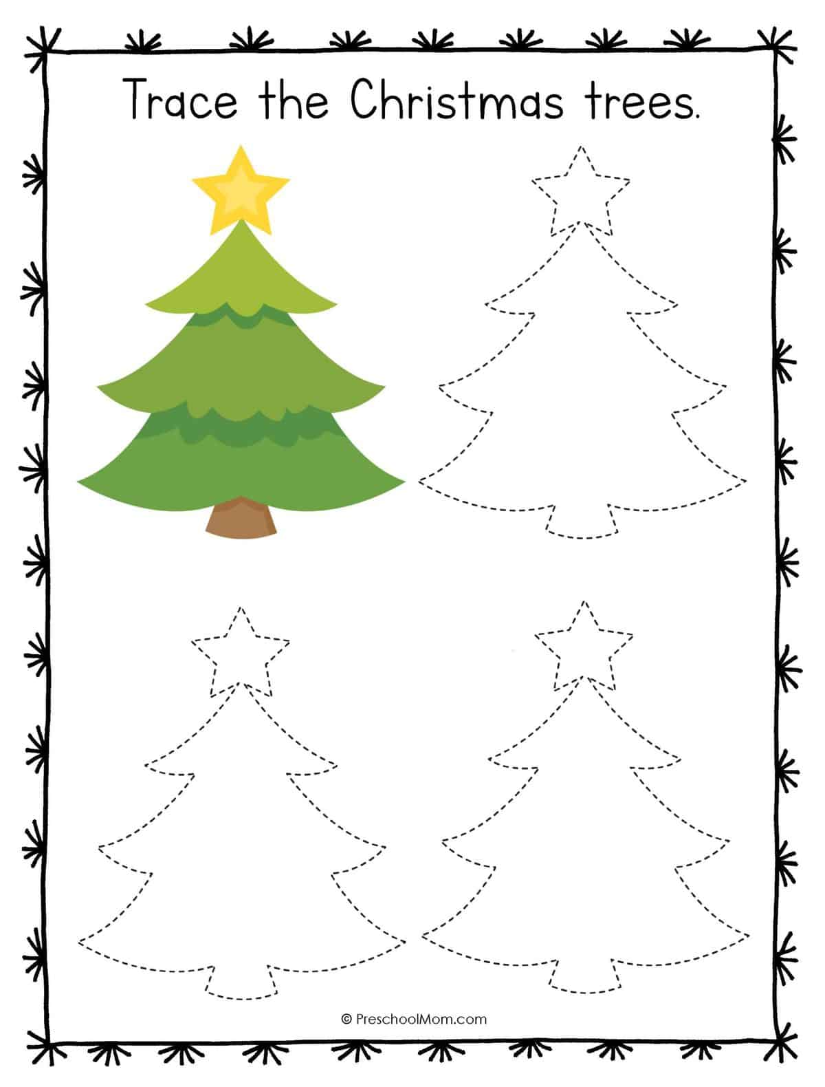 Christmas Symbols Tracing Worksheets
